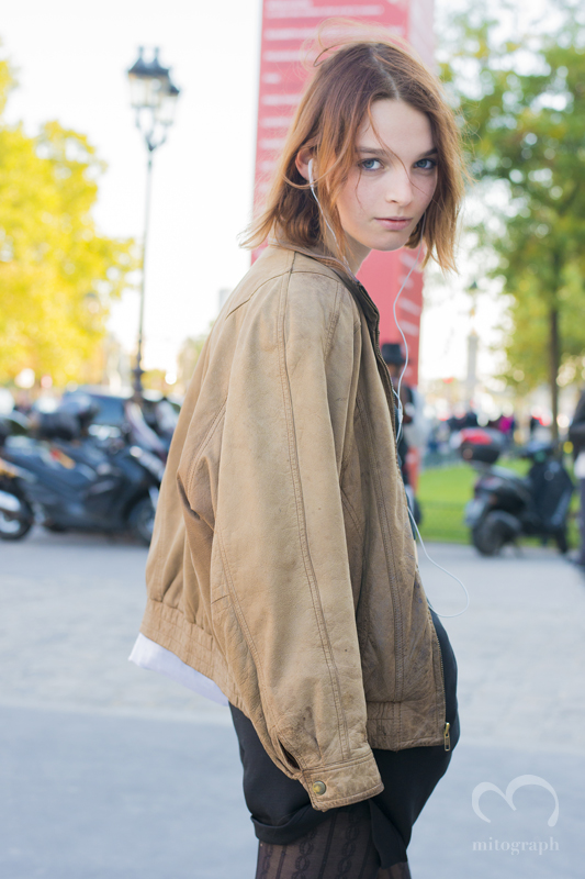 woman at Grand Palais during Barbara Bui 2016 Spring Summer show Paris Fashion Week PFW