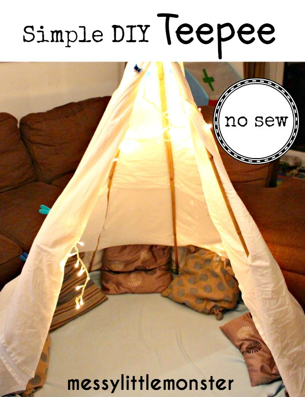 Simple no sew DIY tepee fort for kids