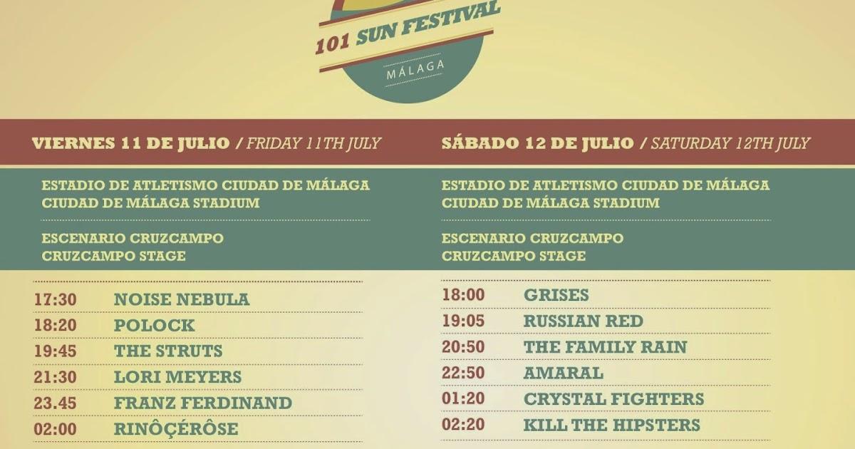 After musiic horarios del 101 sun festival de m laga 2014 for Horario oficina correos malaga