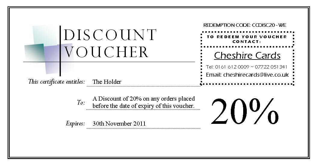 Cheshire Cards Discount Voucher Giveaway – How to Make a Voucher