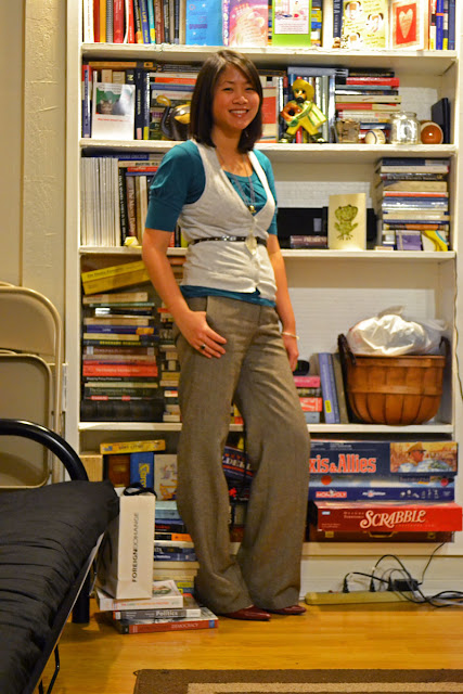 sacramento office fashion blogger angeline evans the new professional blog business casuasl old navy trousers the limited top vest belt swapped necklaces
