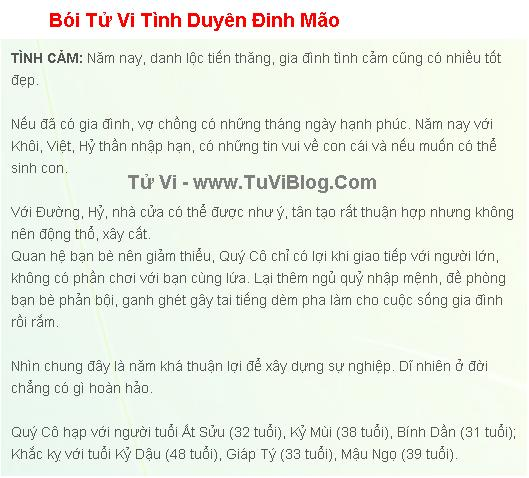 Tu Vi Tinh Duyen Dinh Mao 1987