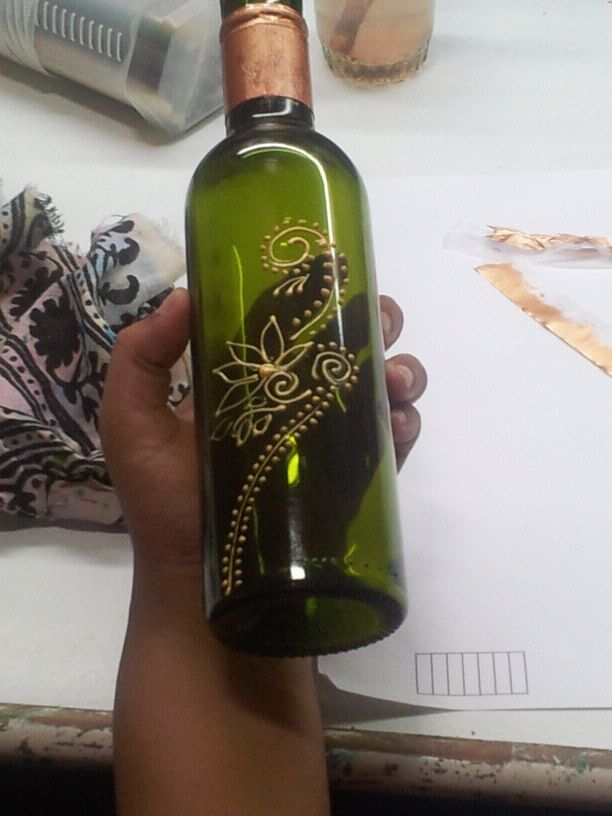 my creations glass bottle painting