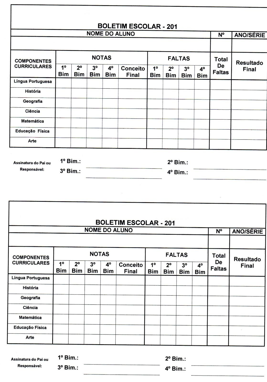 Preferência ADOLETÁ DO ABC: Boletim Escolar SO66