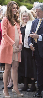 Duchess of Cambridge, Kate Middleton, Peach, Coral, Tara Jarmon, Cotton, Twill Coat, L.K. Bennett, Nude, Patent, Leather, Platform, Court Shoes