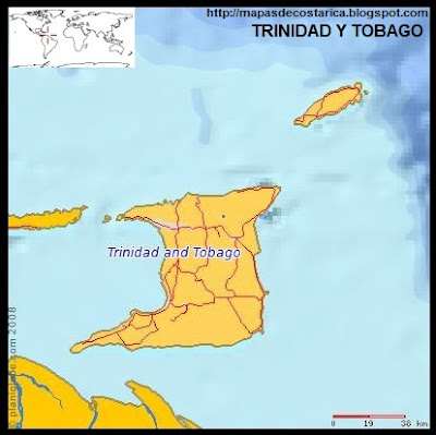 TRINIDAD Y TOBAGO, Mapa de TRINIDAD Y TOBAGO, (planiglobe)