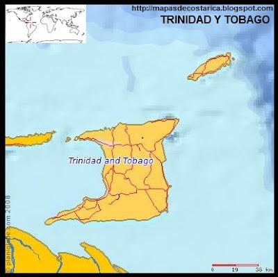 TRINIDAD Y TOBAGO, Mapa de TRINIDAD Y TOBAGO, (planiglobe)