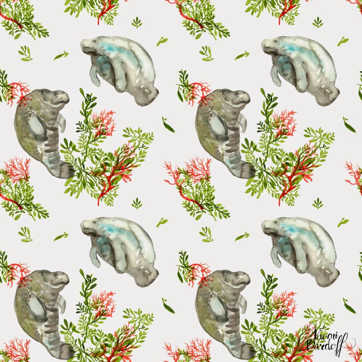 Desktop Wallpaper January 2014: Naomi Bardoff's Art Blog: Manatee, Seaweed, And