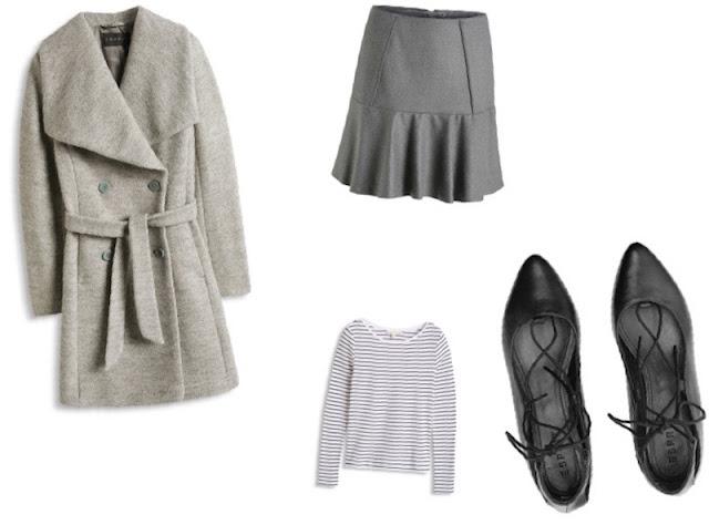 tenue manteau, jupe, mariniére, ballerine ESPRIT