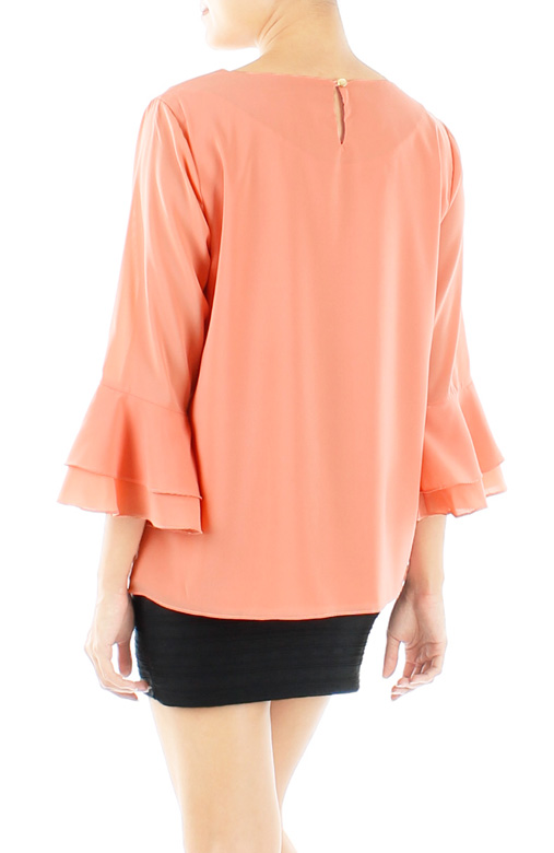 Peach-orange Flounce Sleeve Blouse with Keyhole Back
