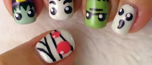 uñas con personajes de Halloween
