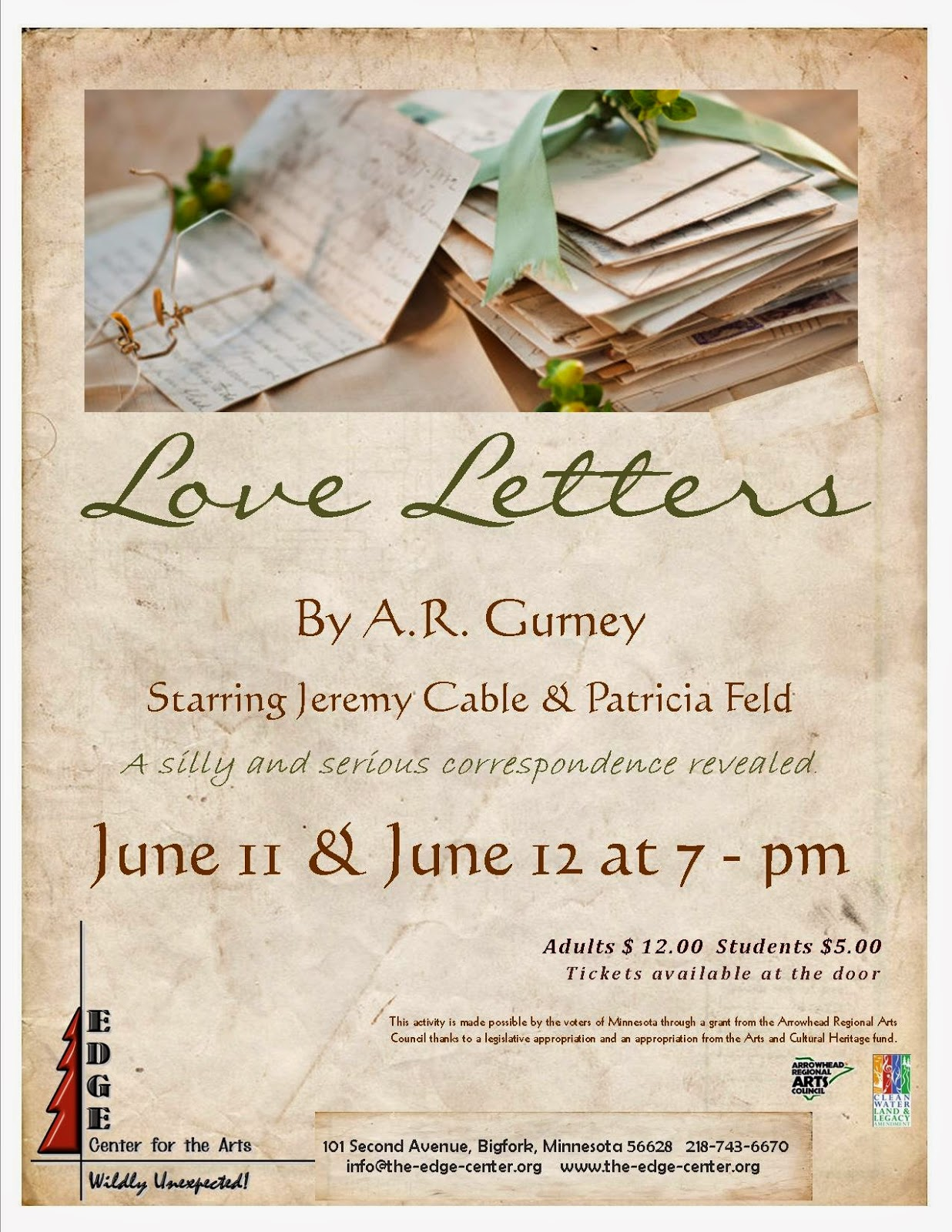 the play love letters on stage at the edge center in bigfork june 11th and 12th is surprisingly different for both actors and audiences