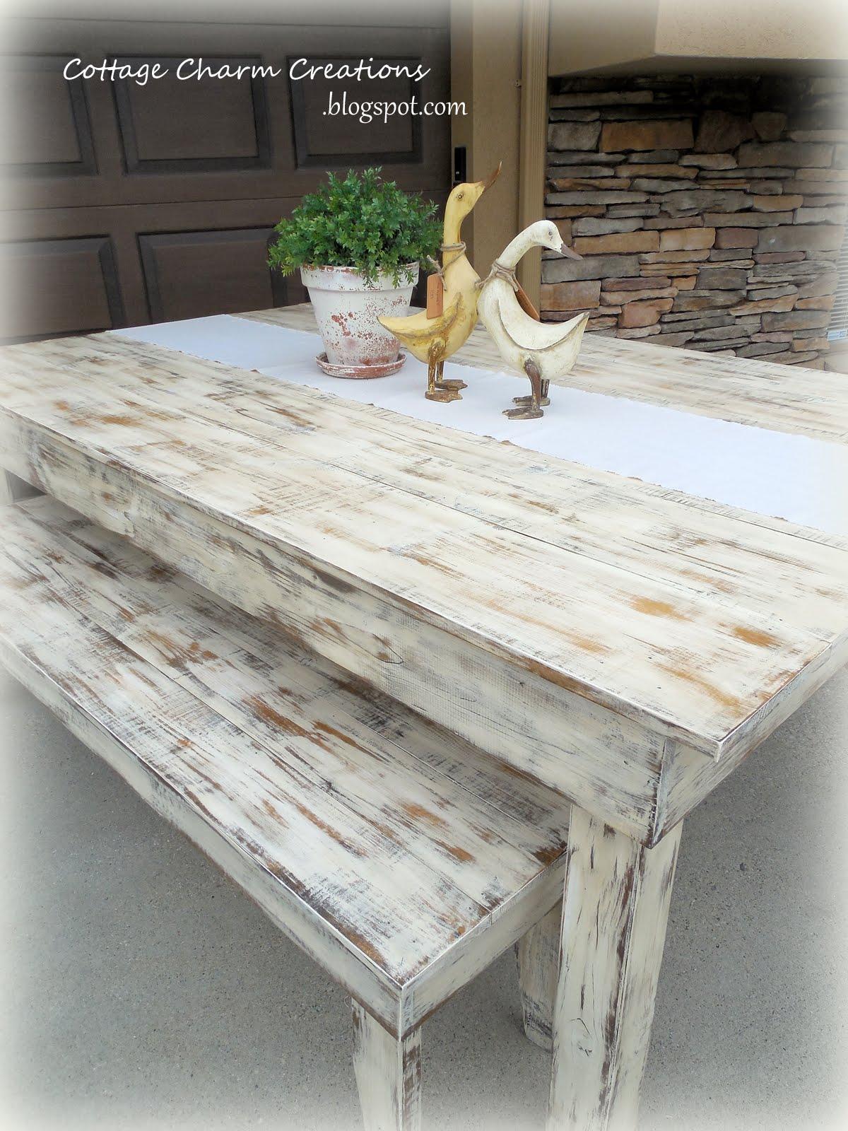 Cottage charm creations reclaimed barn wood farm table for Cottage charm farmhouse