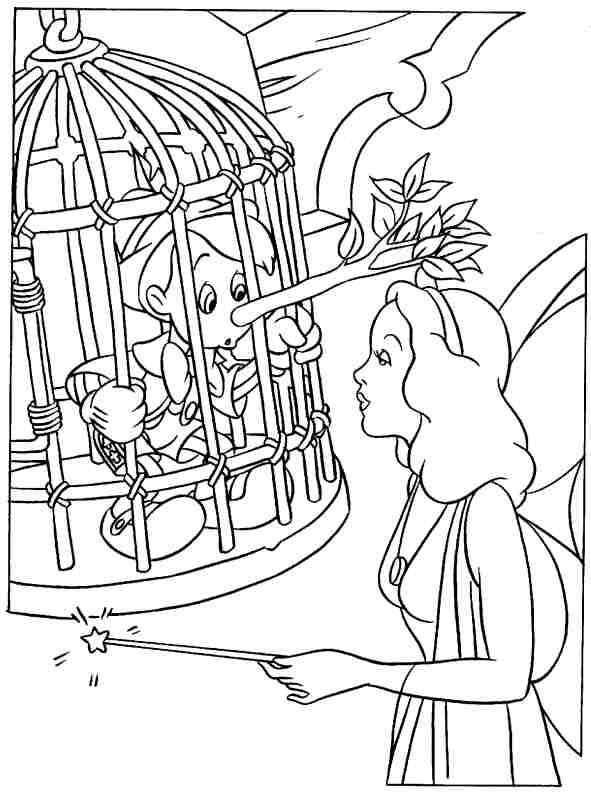 a desenhar Pinochio ea Fada Madrinha colorir