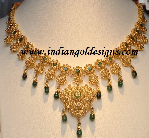 on necklace gold earrings products virani jewelers and elegant uncut diamond set