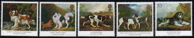 1991年イギリス(英国) キング・チャールズ・スパニエルなどジョージ・スタッブスの絵画の切手5種