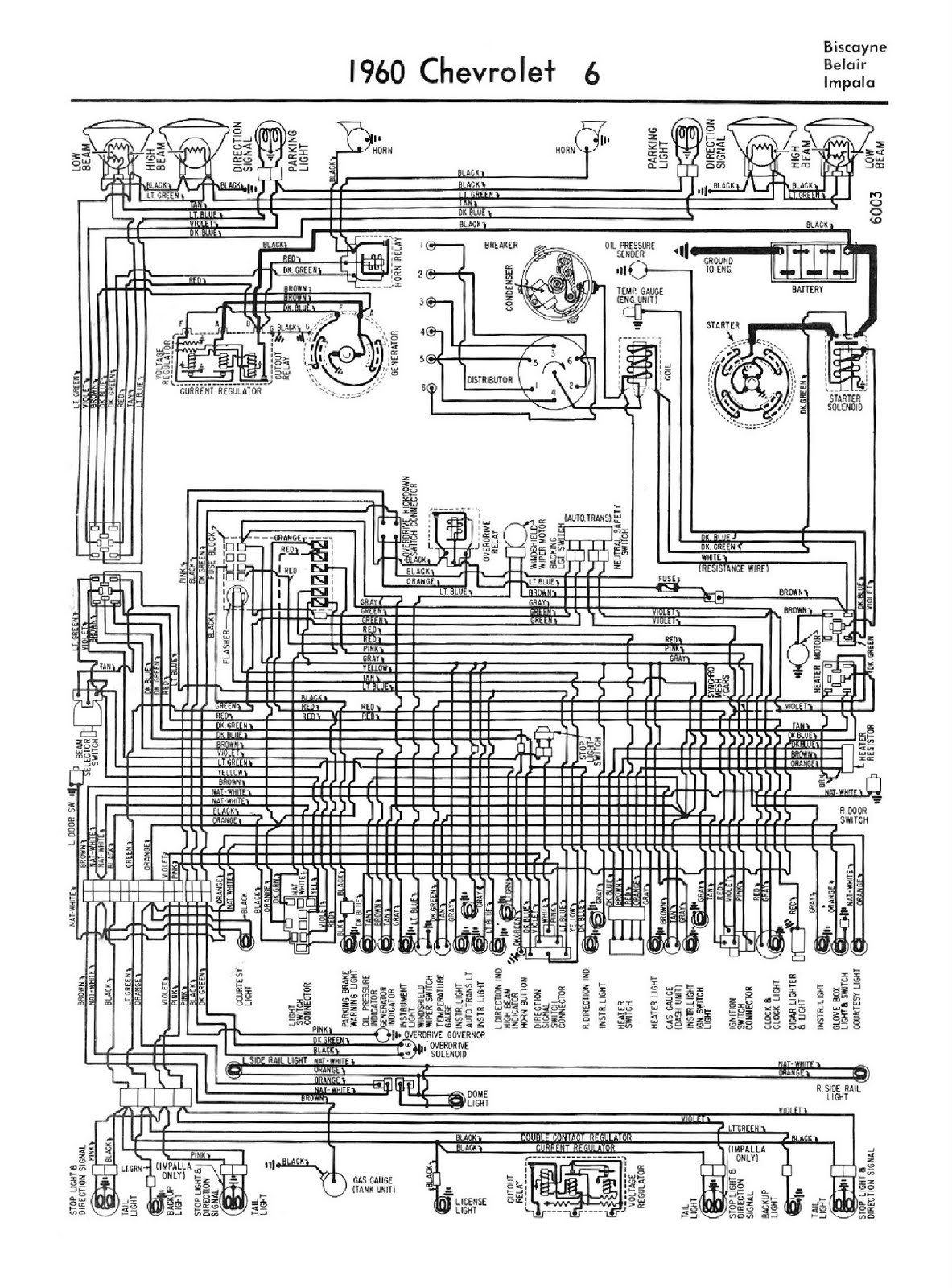 1960_Chevy_V6_Biscayne_Belair_Impala free auto wiring diagram 1960 chevrolet 6 biscayne, belair, or 1960 chevy impala wiring diagram at crackthecode.co