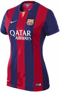 jersey barcelona home, baju bola wanita barca, musim 2014/2015, toko online baju bola terpercaya