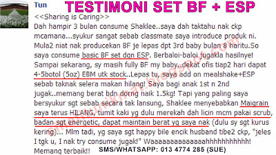 testimoni esp dan set breastfeeding