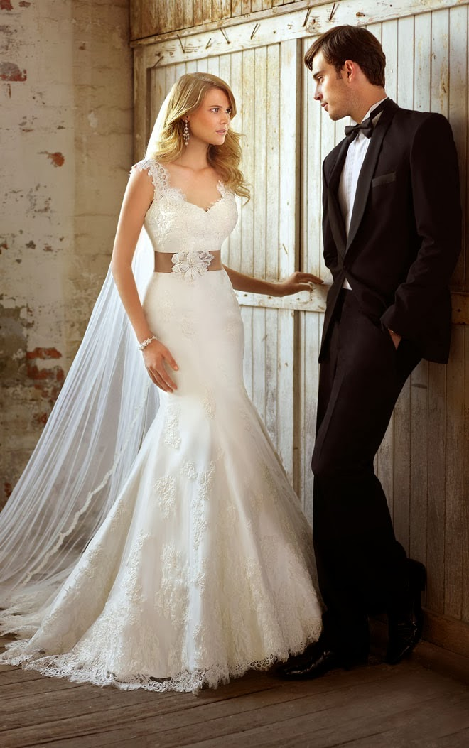 Couple Lace Cap Sleeve Trumpet Silhouette Wedding Dress with Black Tuxedo