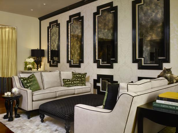 The Framed Antique Mirrors Give This Living Room A Graphic Punch. The Black  Piping On The Cream Sofas Follows Suit. The Damask Wallpaper And Patchwork  ...