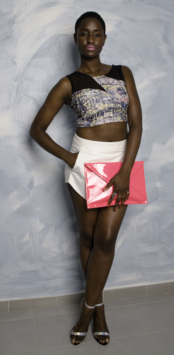 Splatter Painted Look, Origami Skirt and Patent Clutch