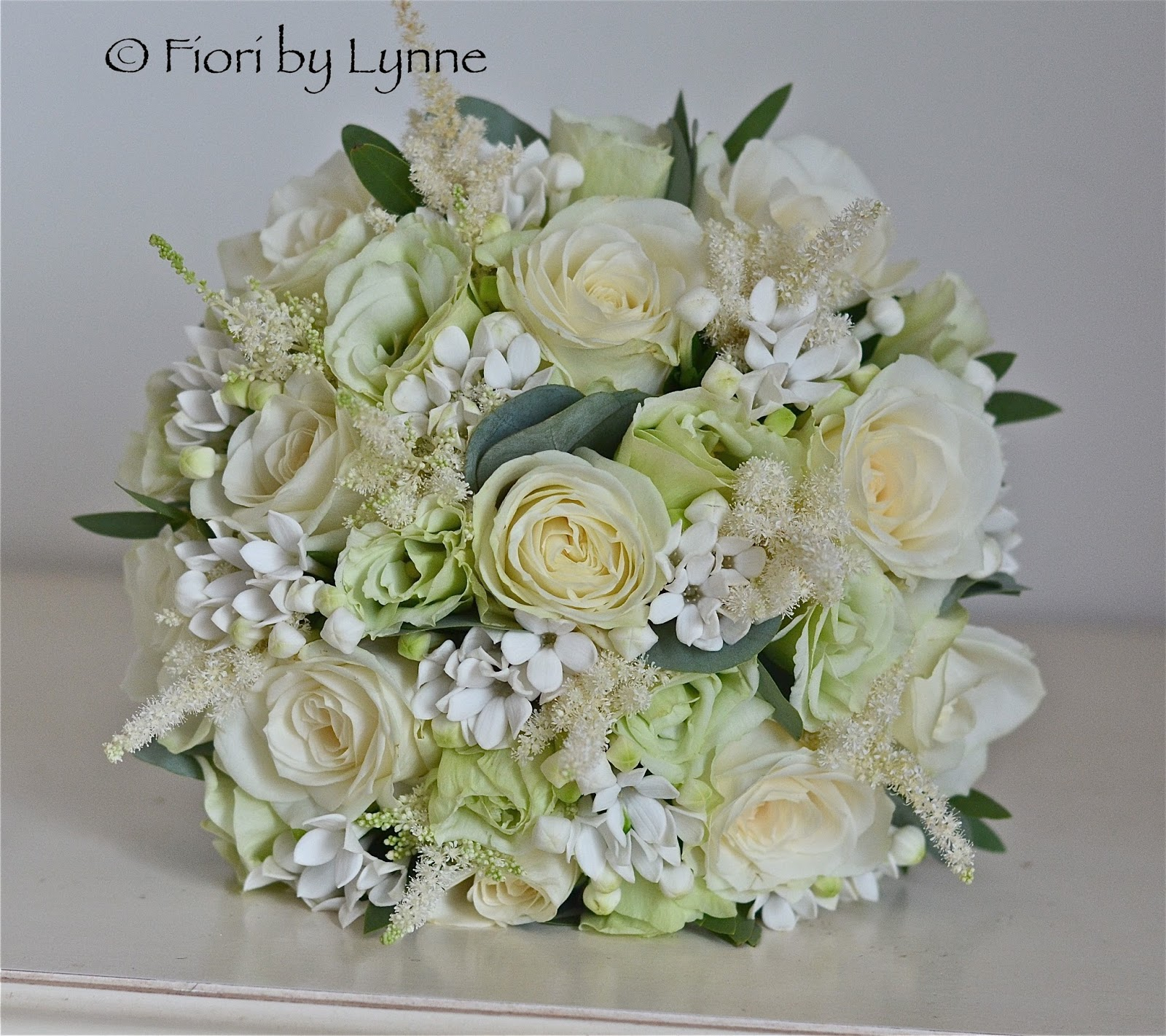 Wedding flowers blog rosies vintage wedding weddings old thorns bouquet in pale green silver and ivory for rosie using roses bouvardia apple lisianthus and white astilbe with a little touch of eucalyptus izmirmasajfo