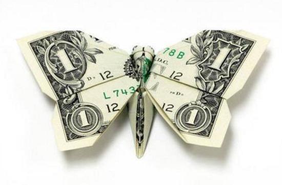 Hasil seni origami menarik dari wang kertas