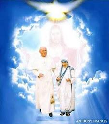 Santa Teresa de Calcuta y San Juan Pablo II.