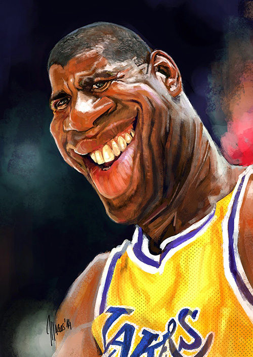 """""""Magic"""" Jhonson´s caricature by Marcos torres"""
