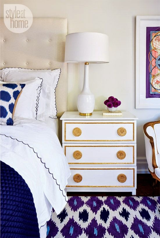 large white walls master bedroom gold accents bed bedding