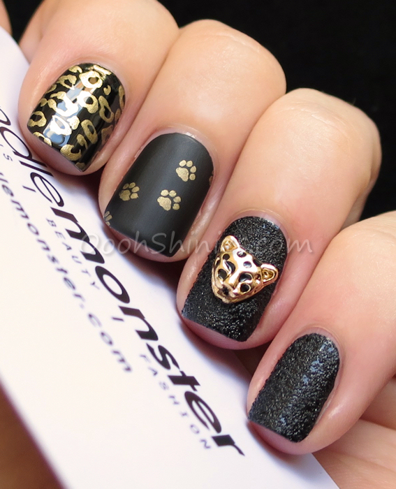 A England Camelot with Essence A Piece of Forever and Bundle Monster plates BM-221 and BM-424, Dance Legend Top Satin and China Glaze Bump In The Night with a Bundle Monster 3D charm
