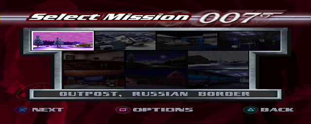 Tomorrow Never Dies select mission screen
