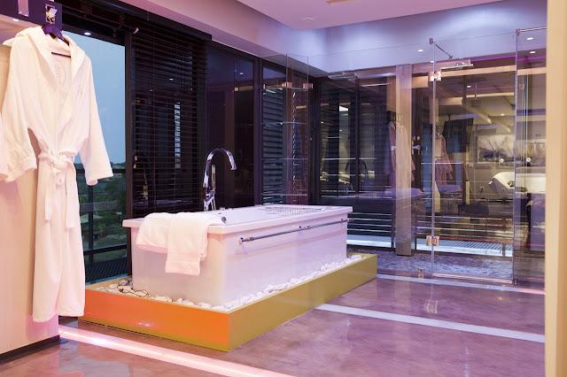 Modern bathtub in the bathroom