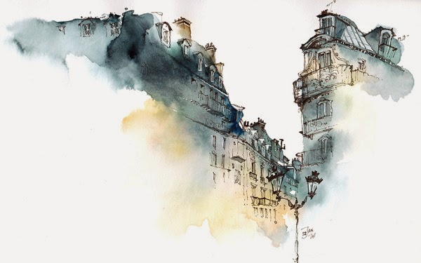 Water colour picture of Paris