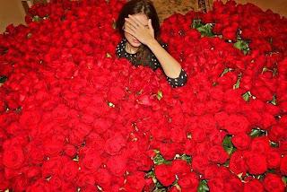 Bañada en flores rosas rojas
