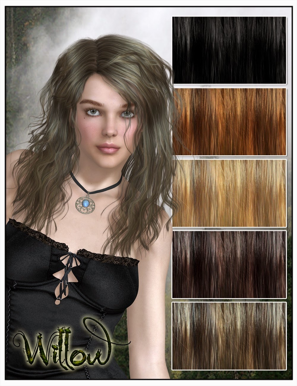 Willow cheveux pour Genesis 2 Femme et Victoria 4