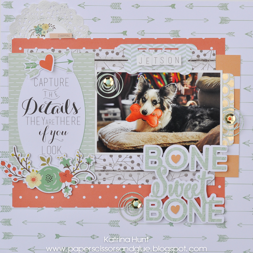 Bone Sweet Bone Dog Scrapbook Page by Katrina Hunt featuring 17turtles Digital Cut Files