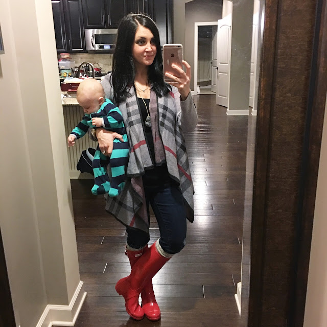 Stilettos and Diapers: Plaid Drape Cardigan, Red Hunter Boots