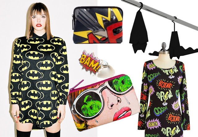 comic book inspired fashion, batman shirt, comic word dress