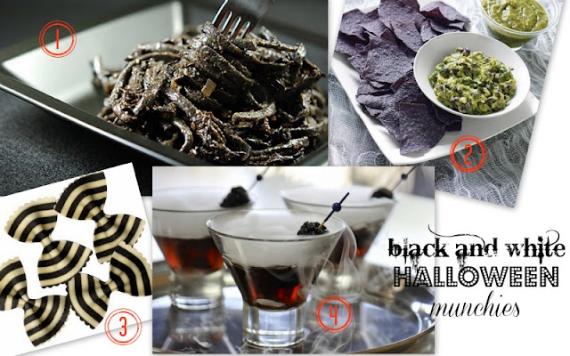 black and white Halloween food
