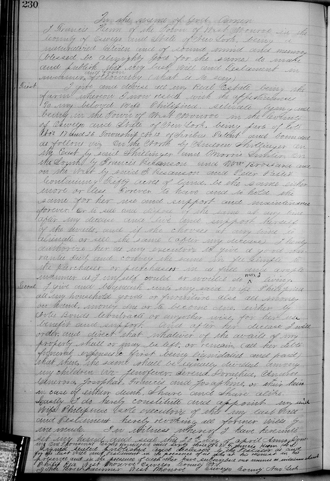Climbing My Family Tree: Last Will and Testament of Francis Henn, signed April 20, 1863