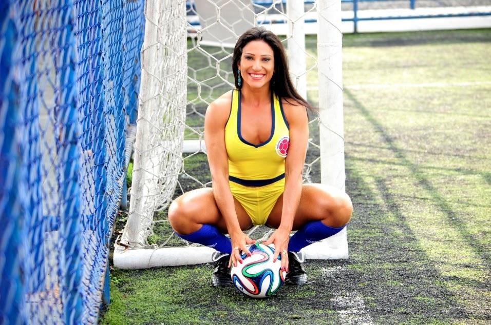 Belas do Mundial - Juliana Alves nas cores da Seleção Colombiana de Futebol