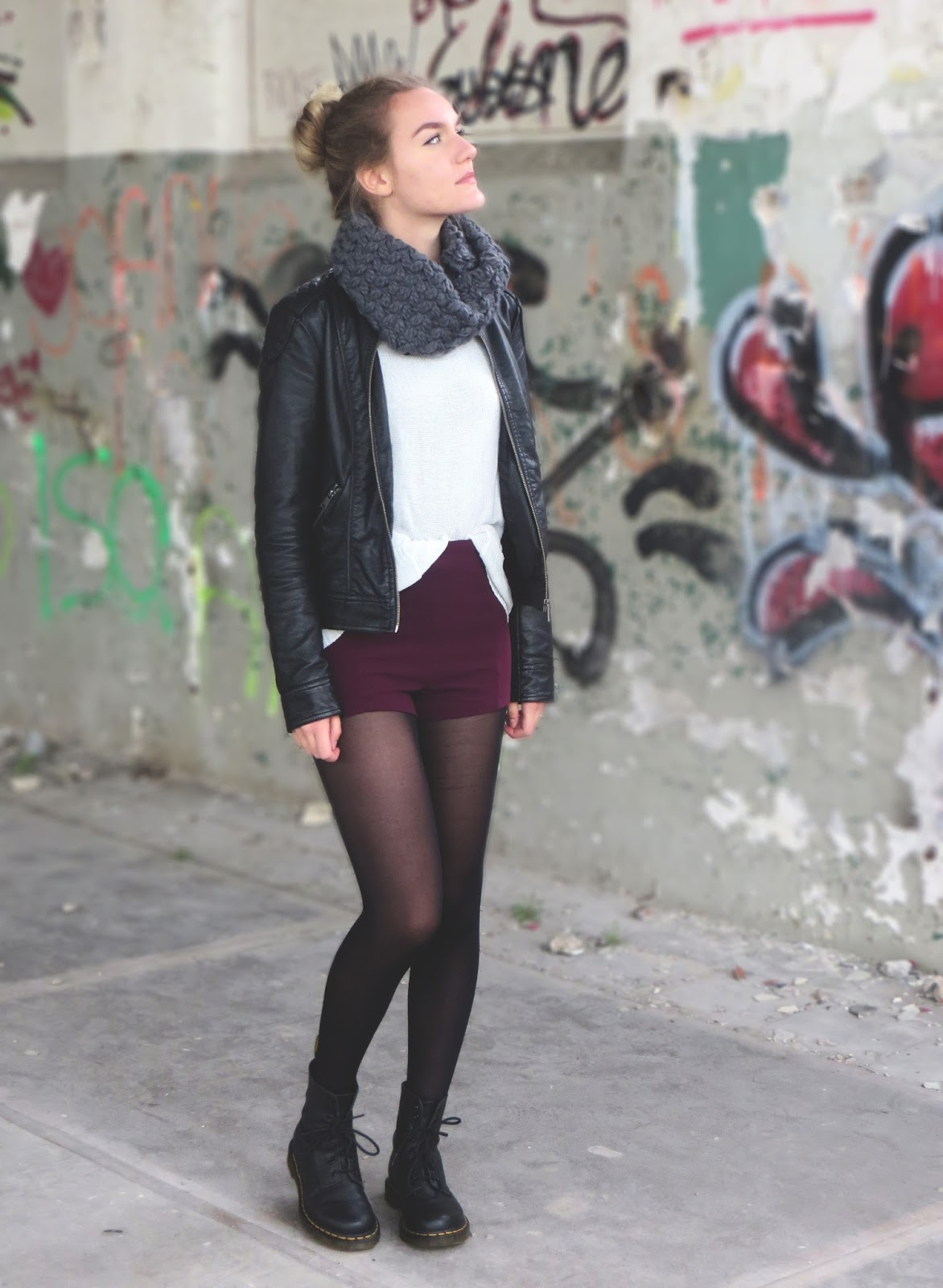 outfit with grey scarf leather jacket and burgundy shorts