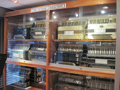 Cases and cases of squeezeboxes adorn the Accordian Museum