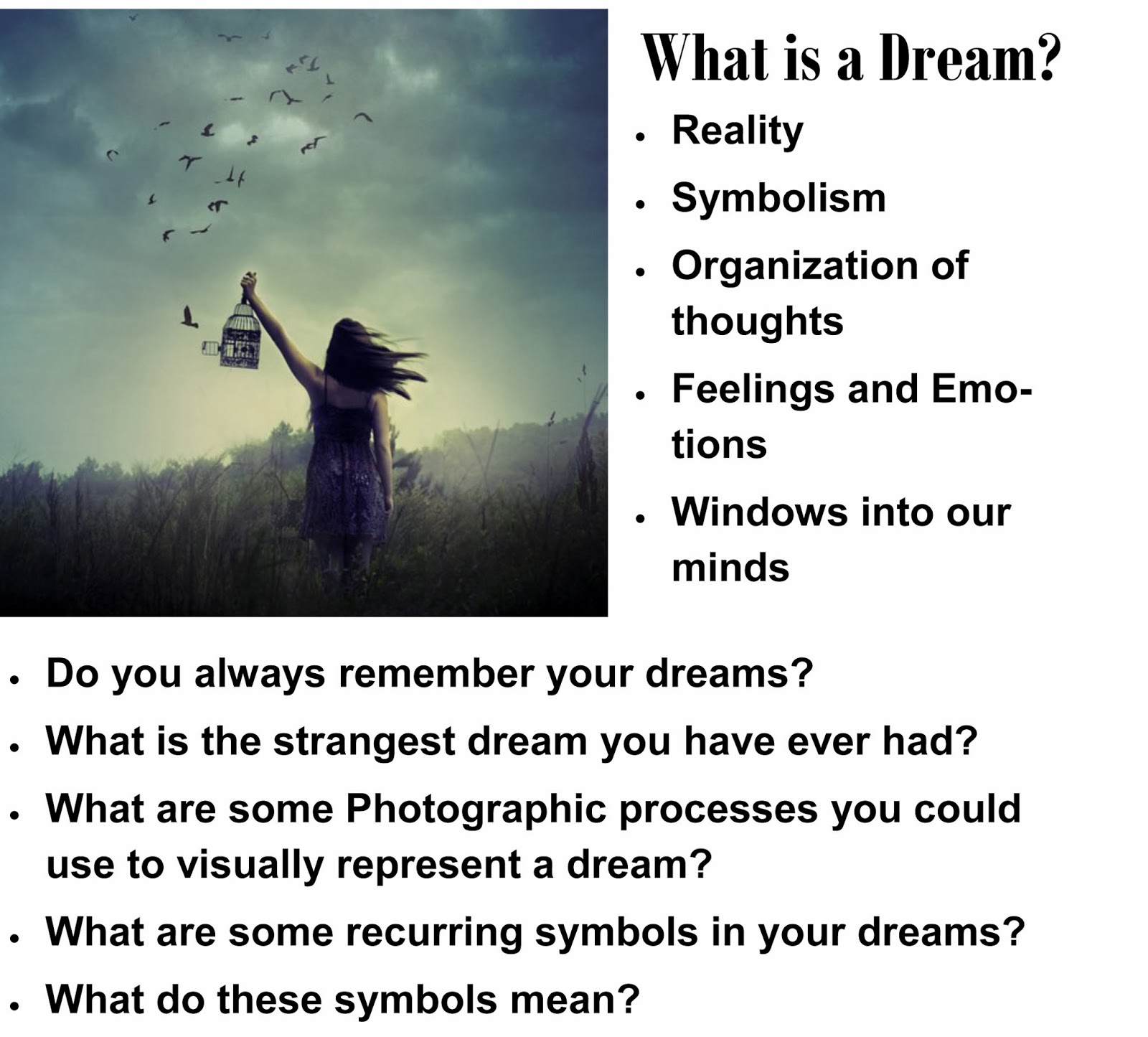 Dreamtography advanced photography sketchbook assignments dreams are symbols biocorpaavc Choice Image