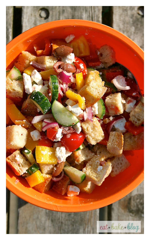 Eat Bake Blog Greek Panzanella Salad