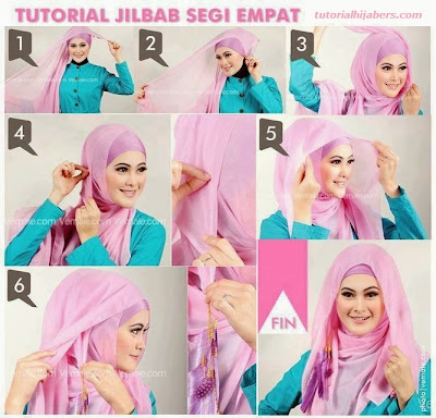 Tutorial Hijab Paris Segiempat Simple dan Fashionable