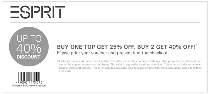 printable coupons 2011. Esprit Coupons 2011; In-Store