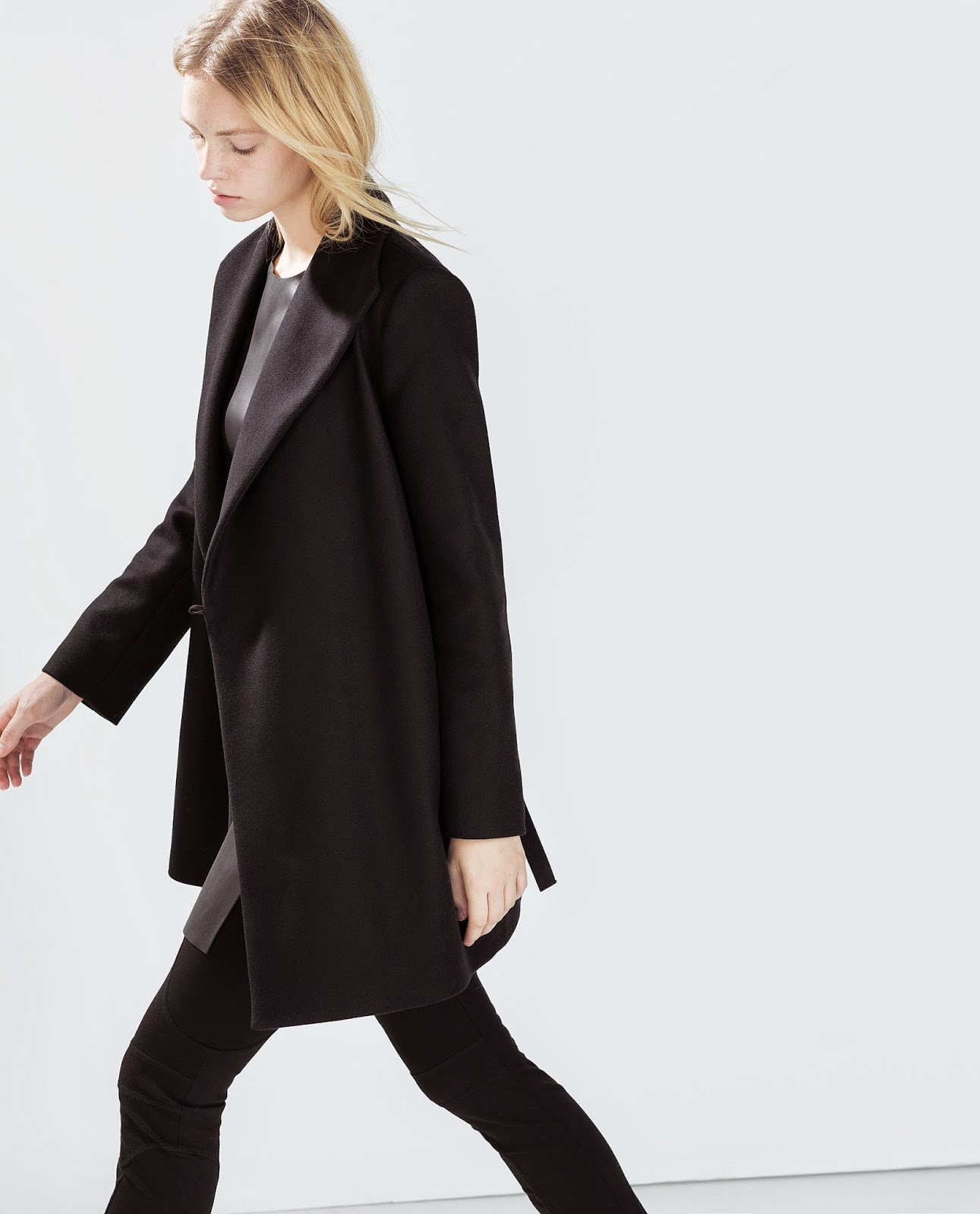 zara black wool coat
